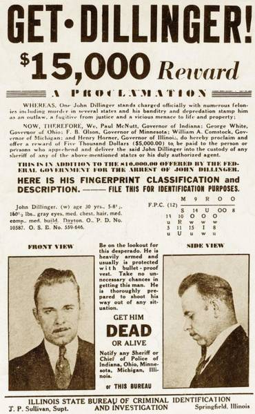 Robbers Photograph - Wanted Poster For John Dillinger by Everett