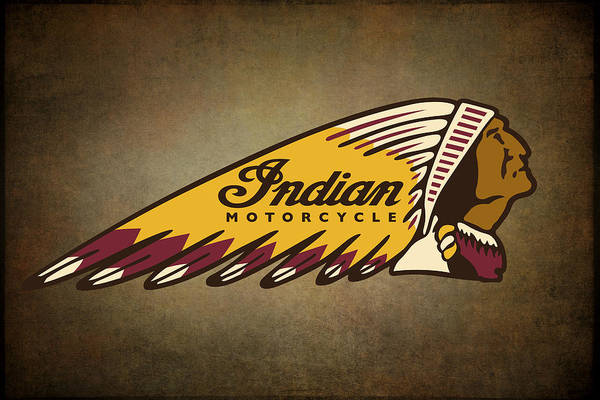 Ride Digital Art - War Bonnet Indian Motorcycle Vintage Logo by Daniel Hagerman