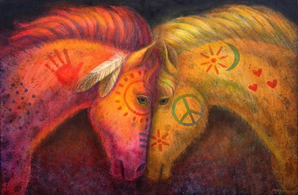 Wall Art - Painting - War Horse And Peace Horse by Sue Halstenberg