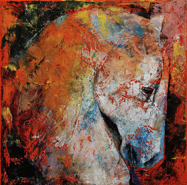 White Horse Wall Art - Painting - War Horse by Michael Creese