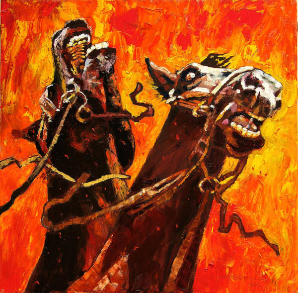 Wall Art - Painting - War Horses by John Lautermilch