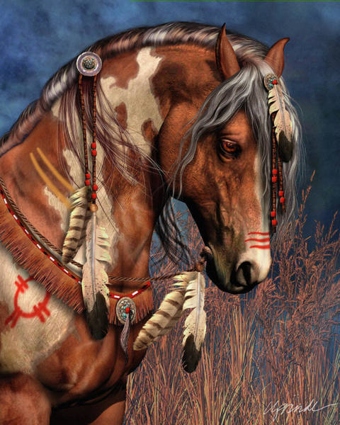 Horse Feathers Digital Art - War Pony by Laurie Prindle