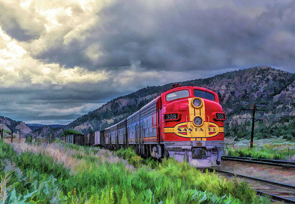Freight Trains Painting - Warbonnet F7 Santa Fe Locomotive by Christopher Arndt
