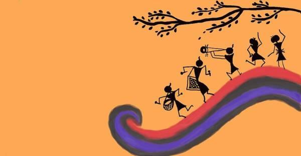 Tribal Dance Digital Art - Warli Dance by Sushmita Kotlikar