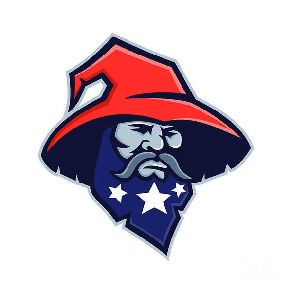 Wizard Hat Wall Art - Digital Art - Warlock Stars On Beard Mascot by Aloysius Patrimonio