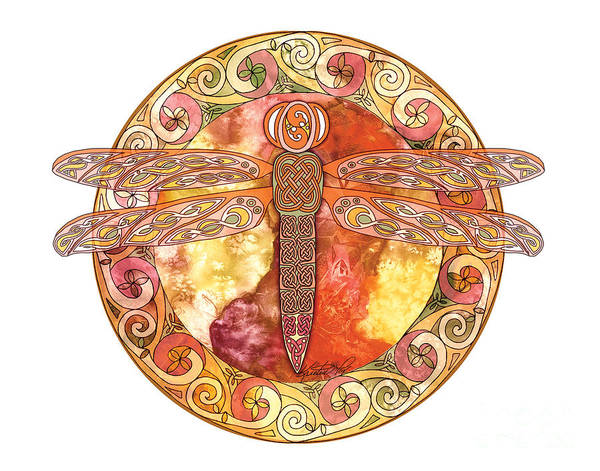 Mixed Media - Warm Celtic Dragonfly by Kristen Fox