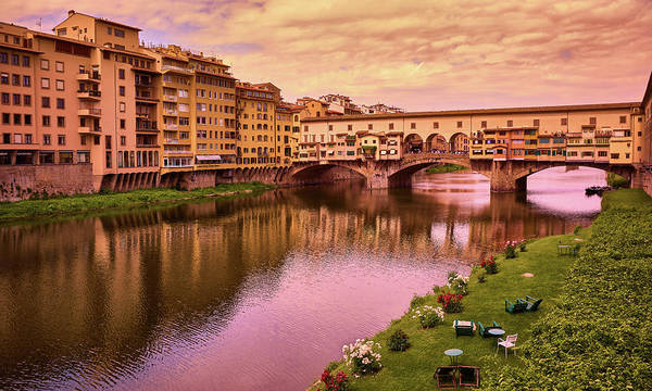 Photograph - Sunset At Ponte Vecchio In Florence, Italy by Fine Art Photography Prints By Eduardo Accorinti