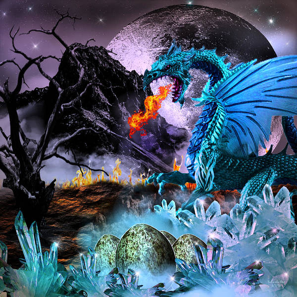 Digital Art - Warming Of The Dragon Eggs by Artful Oasis