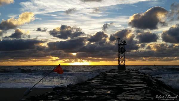 Photograph - Warning Flag At Sunrise by Robert Banach