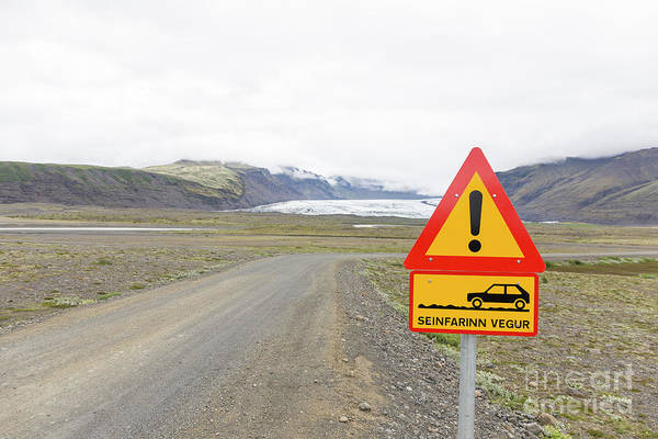 Gravel Road Photograph - Warning Road Sign Iceland by Edward Fielding