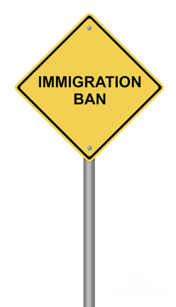 Digital Art - Warning Sign Immigration Ban by Henrik Lehnerer