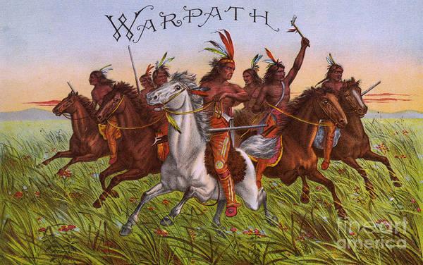 Wall Art - Painting - Warpath Vintage Fruit Box Label by Edward Fielding