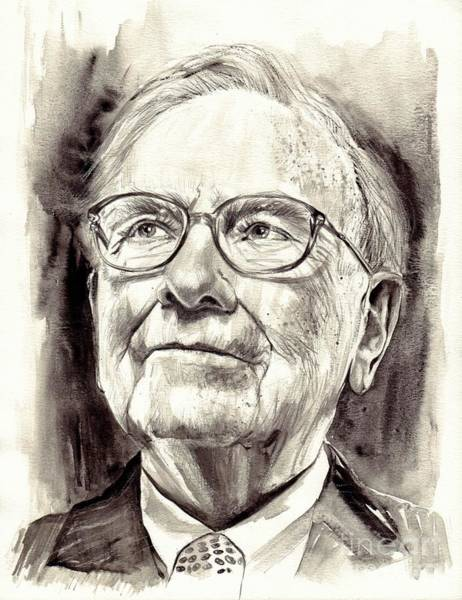 Obama Painting - Warren Buffett Watercolor by Suzann's Art