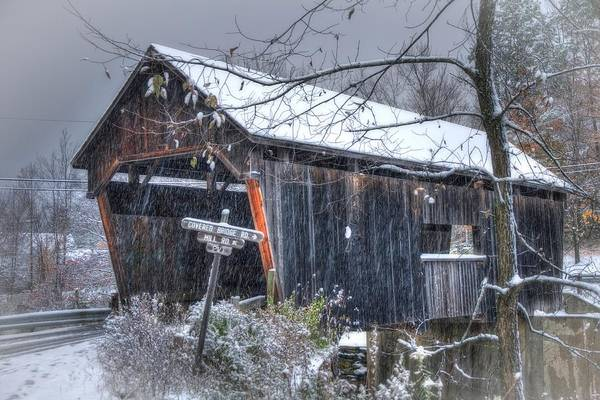 Photograph - Warren Covered Bridge In Snow - Warren Vermont by Joann Vitali