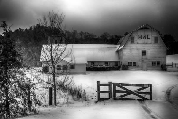 Snow Fence Digital Art - Warren Wilson College Barn In Winter by John Haldane