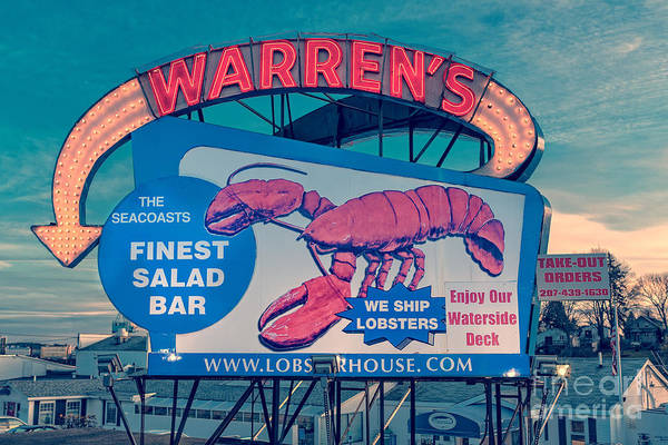 New Hampshire Wall Art - Photograph - Warrens Lobster House Neon Sign Kittery Maine by Edward Fielding
