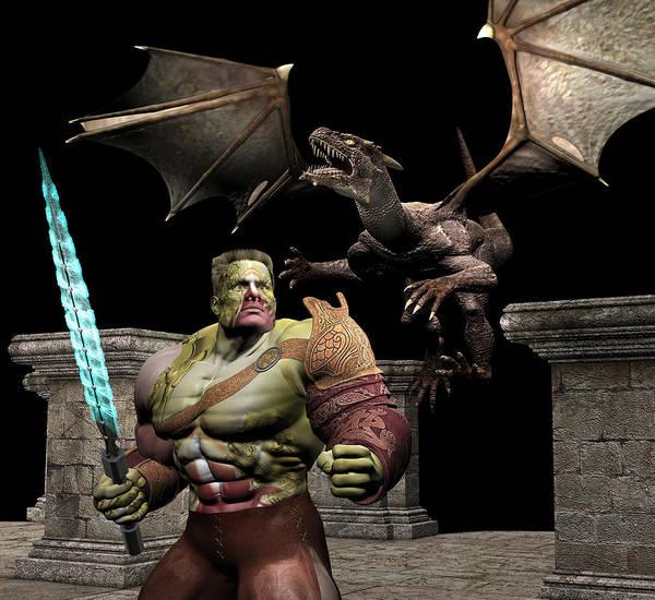 Digital Art - Warrior And Dragon Series 04 by Carlos Diaz