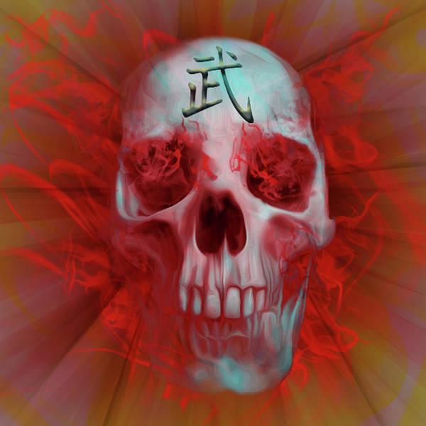 Kanji Digital Art - Warrior Kanji Skull by Vic Weiford
