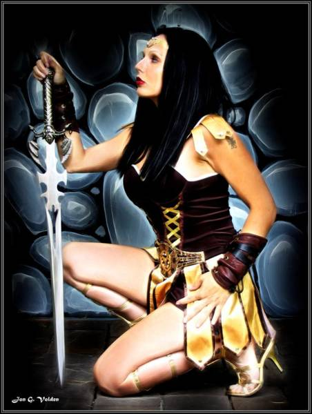 Painting - Warrior Princess With Sword by Jon Volden