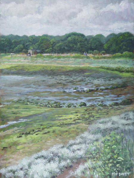 Wall Art - Painting - Warsash Coastline With Tide Out Hampshire by Martin Davey