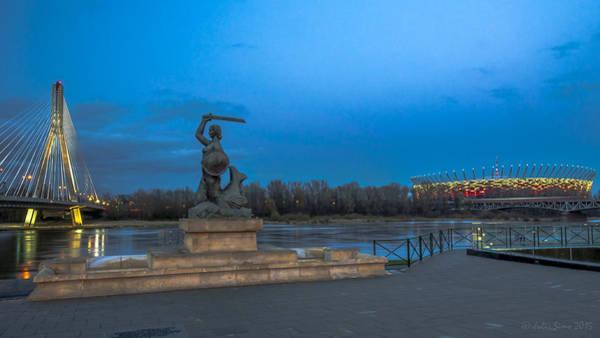 Photograph - Warsaw Mermaid Nad The National Stadium And The Swietokrzyski Bridge by Julis Simo