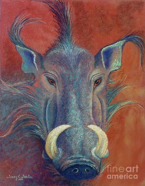Wall Art - Pastel - Warthog Defiance by Tracy L Teeter