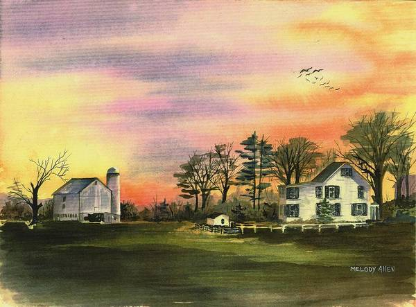 Wall Art - Painting - Warwick Farm At Sunset by Melody Allen