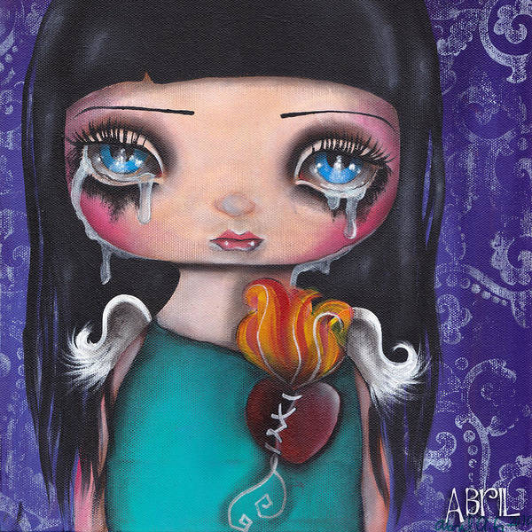 Sacred Heart Painting - Wash Away My Tears by Abril Andrade Griffith