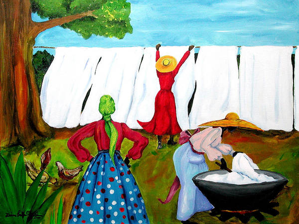 African Women Painting - Wash Day by Diane Britton Dunham