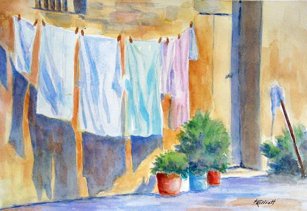 Clothesline Painting - Wash Day In Marsaxlokk by Marsha Elliott