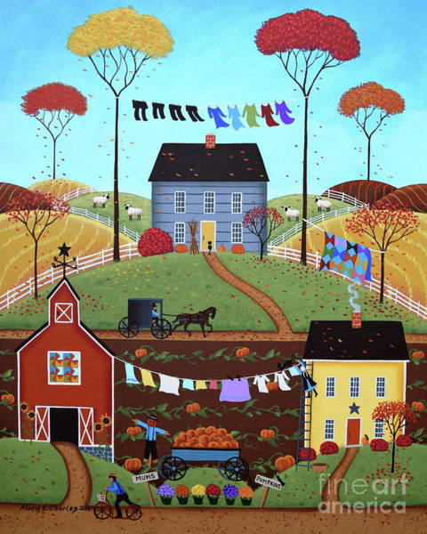 Clothesline Painting - Wash Day by Mary Charles