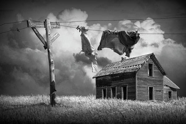 Dirty Laundry Photograph - Wash On The Line In Black And White by Randall Nyhof