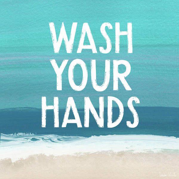 Mixed Media -  Wash Your Hands- Beach Art By Linda Woods by Linda Woods