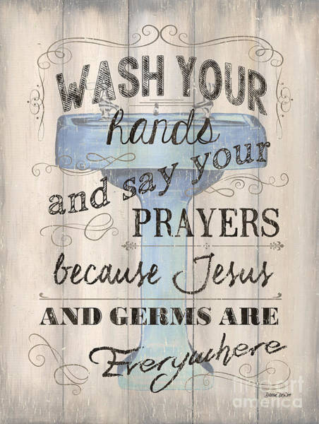 Tub Wall Art - Painting - Wash Your Hands by Debbie DeWitt