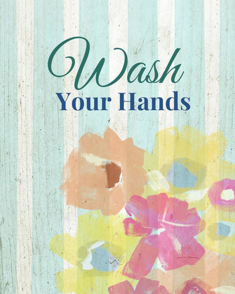 Pretty Mixed Media - Wash Your Hands Floral Stripe- Art By Linda Woods by Linda Woods