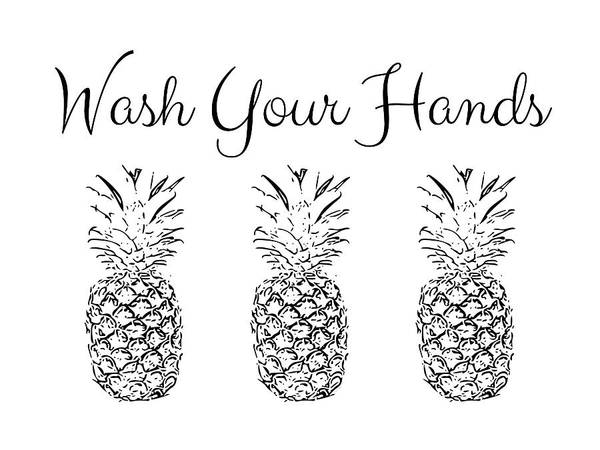 Pineapples Digital Art - Wash Your Hands Pineapples- Art By Linda Woods by Linda Woods