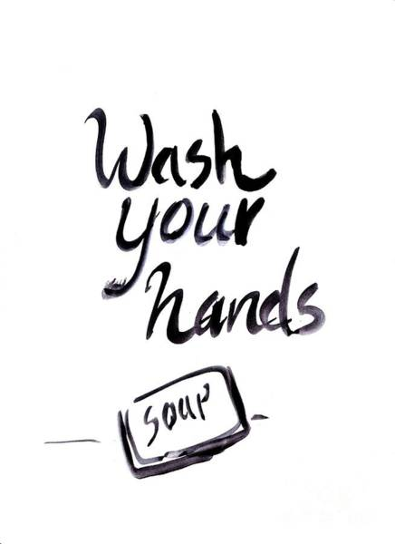 Bathroom Wall Art - Painting - Wash Your Hands Sign by Sweeping Girl