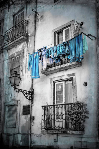 Balcony Photograph - Washday Blues In Lisbon Portugal Black And White by Carol Japp