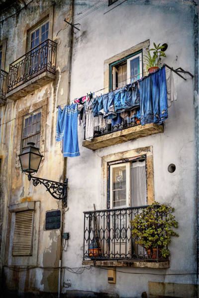 Wall Art - Photograph - Washday Blues In Lisbon Portugal  by Carol Japp