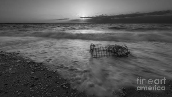 Sandy Hook Wall Art - Photograph - Washed Up Crab Cage 16x9 Bw by Michael Ver Sprill