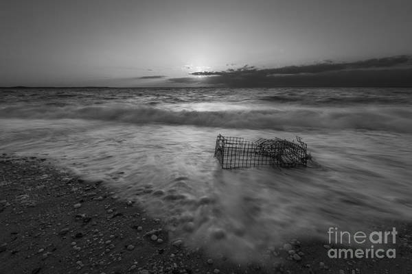 Sandy Hook Wall Art - Photograph - Washed Up Crab Trap Bw by Michael Ver Sprill
