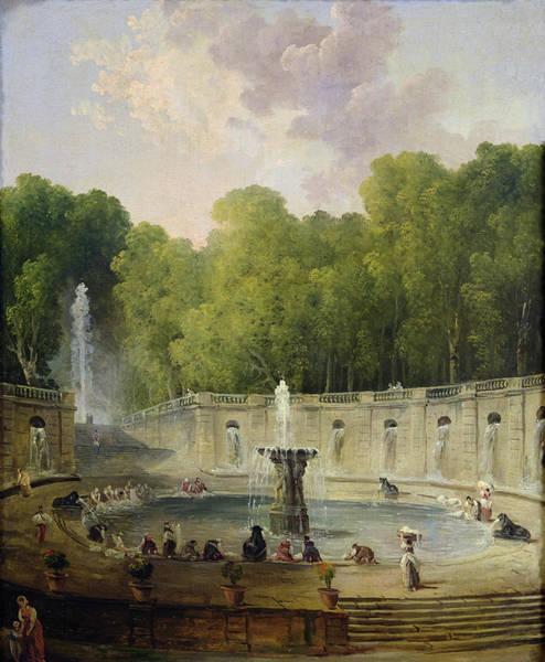 Oil Industry Painting - Washerwomen In A Park by Hubert Robert
