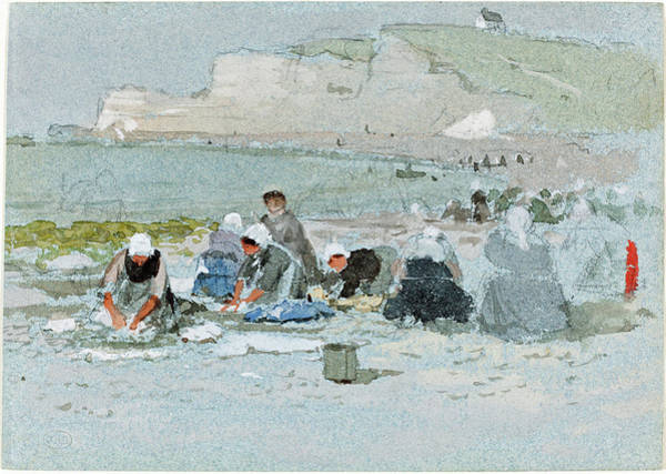 Painting - Washerwomen On The Beach At Etretat by George Henry Boughton