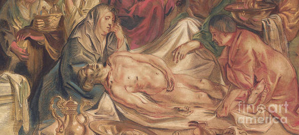 Wall Art - Pastel - Detail From Washing And Anointing Of The Body Of Christ by Jacob Jordaens