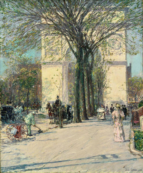 Narrow Street Painting - Washington Arch, Spring 1893 by Childe Hassam