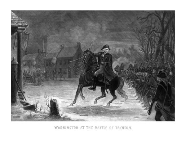 Revolution Wall Art - Painting - Washington At The Battle Of Trenton by War Is Hell Store
