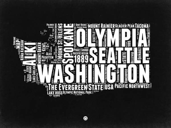 Wall Art - Digital Art - Washington Black And White Word Cloud Map by Naxart Studio