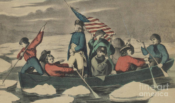 Currier And Ives Painting - Washington Crossing The Delaware On The Evening Previous To The Battle Of Trenton by Currier and Ives