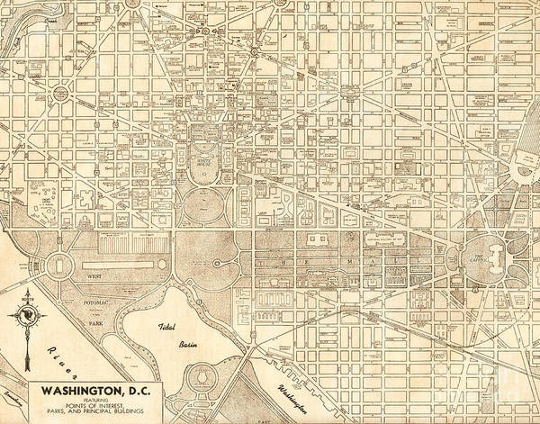 Road Map Photograph - Washington Dc Antique Vintage City Map by ELITE IMAGE photography By Chad McDermott
