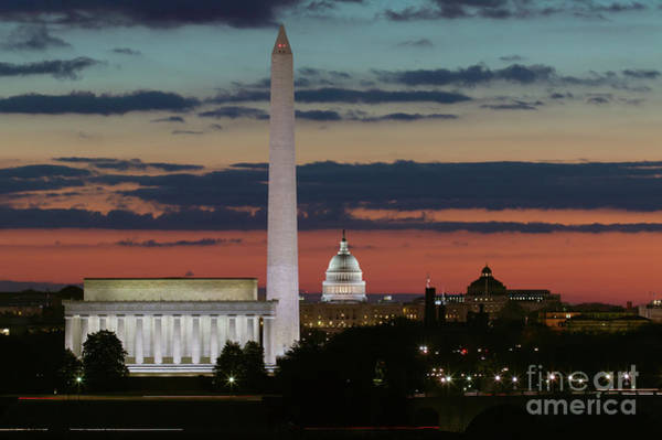 Us Capitol Photograph - Washington Dc Landmarks At Sunrise I by Clarence Holmes
